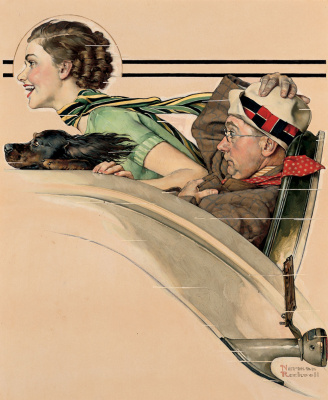 Norman Rockwell. Couple in Rumbleseat