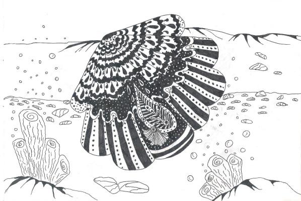 "Nikolai Nikolaevich Olar. Series of stylized drawings: ""Underwater fantasy"" (3)"
