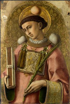 Карло Кривелли. Святой Стефан. Центральный алтарь Сан Доменико в Асколи, полиптих, правое внутреннее навершие