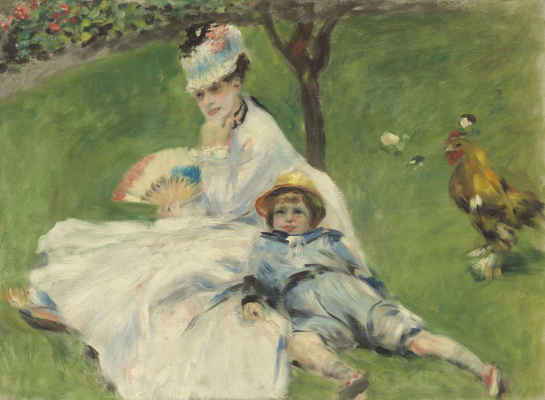 Pierre-Auguste Renoir. Camille Monet and her son Jean in the garden at Argenteuil