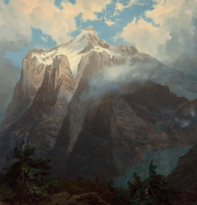 Albert Birštadt. Mount brewer from the canyon of the river king, CA. Fragment