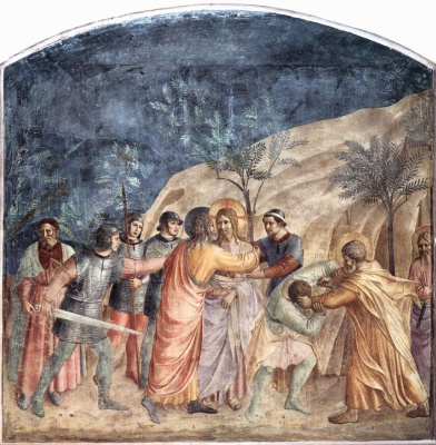 Fra Angelico. The cycle of frescoes in the Dominican monastery of San Marco in Florence, scene: the arrest of Christ, kiss of Judas and Peter
