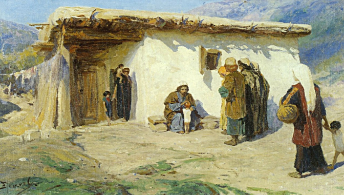 "Vasily Dmitrievich Polenov. Brought the kids out. From the series of paintings ""From the life of Christ"""