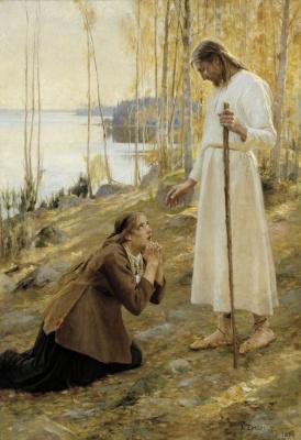 Альберт Густав Аристид Эдельфельт. Христос и Мария Магдалина, финская легенда. 1890 216 х 152