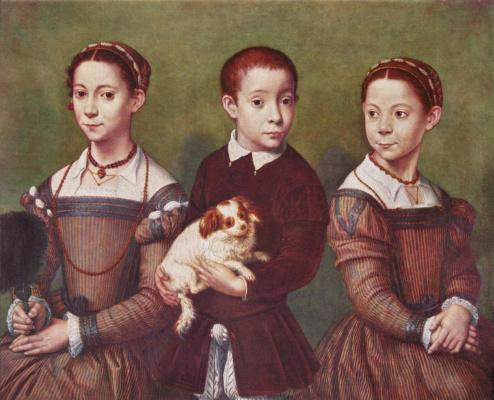 Софонисба Ангиссола. Трое детей с собакой