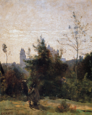 Camille Corot. View of the Castle of Pierrefonds