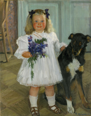 Boris Mikhailovich Kustodiev. The Irina kustodiyeva with the dog Shumka