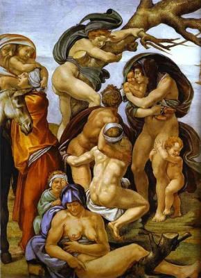 Микеланджело Буонарроти. Потоп. Фрагмент.