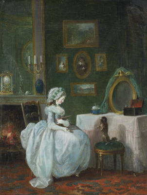 Jean-Frederick Schall. Girl at the dressing table and a dog