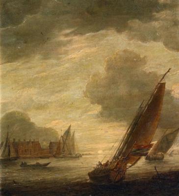Ян Порселлис. Морской пейзаж с двумя парусниками