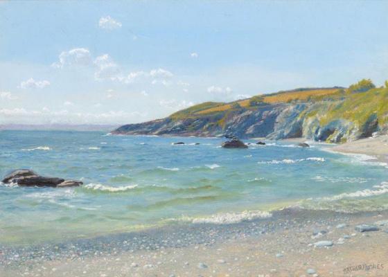 Arthur Hughes. Coastal Landscape, Perran Point, Cornwall