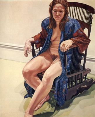 Филипп Перельштейн. Сидящая женщина в синем халате