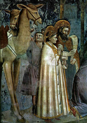 Giotto di Bondone. Adoration of the Magi. Scenes from the life of Christ. Fragment