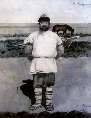 """Andrei Petrovich Ryabushkin. Mikula Selyaninovich. 1893 Illustration for the book """"Russian epic warriors"""""""