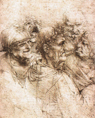 Leonardo da Vinci. Five grotesque heads