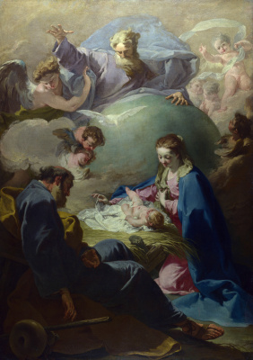 Giovanni Battista Pittoni. The Nativity with God the father and the Holy Spirit