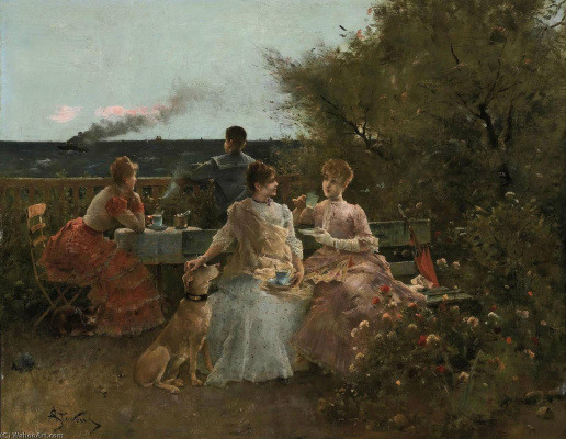Alfred Emil-Leopold Stevens. Ladies on the terrace, Normandy