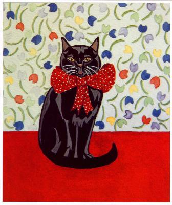 Эстер Уолтон. Черная кошка с красным бантом