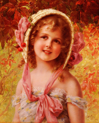 Emile Vernon. Girl with cherries