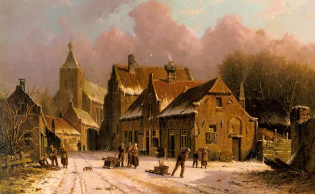 Адрианус Эверсен. Деревня зимой
