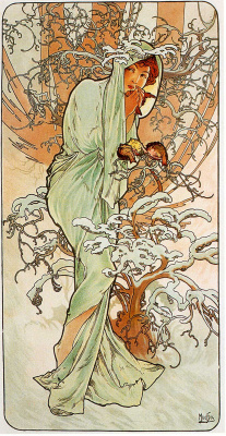 "Alphonse Mucha. Winter. From the series ""the seasons"""