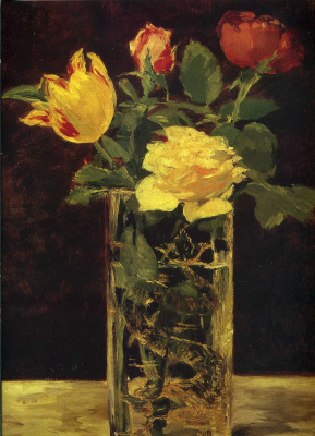 Edouard Manet. Roses and tulips