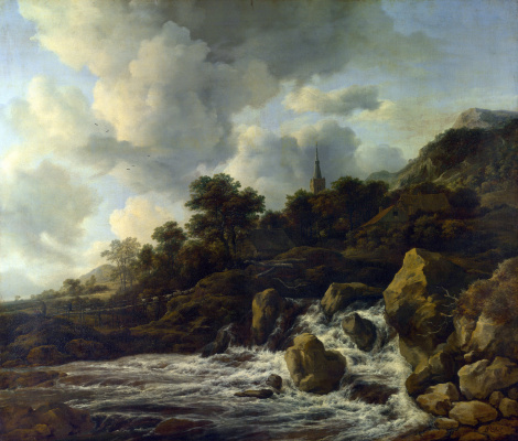 Jakob van Isaacs Ruisdael. Waterfall at the foot of the hill, near the village