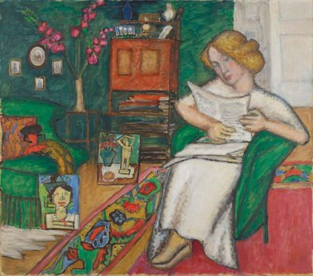 Габриель Мюнтер. В комнате. Женщина в белом платье