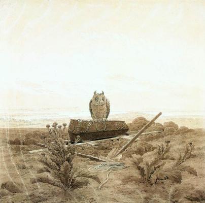 Caspar David Friedrich. Landscape with a coffin and an owl