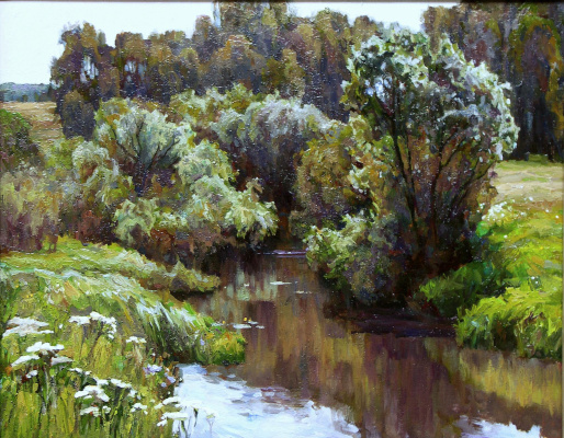 Oleg Borisovich Zakharov. Noon on the Kirzhach river.