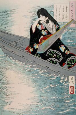 """Цукиока Ёситоси. Арико-но Науси в лодке. Серия """"100 видов луны"""""""