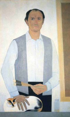 Will Barnet. A man with a cat