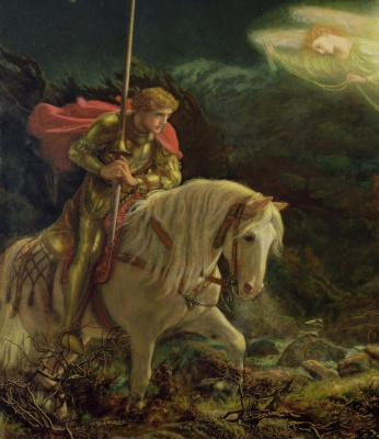 Arthur Hughes. Sir Galahad in search of the Holy Grail. Fragment