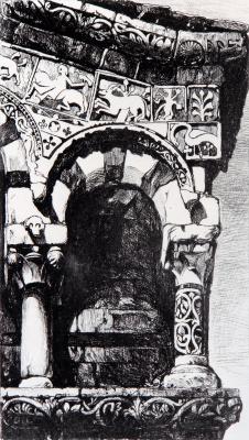 John Ruskin. Arch facade of the church of San Michele