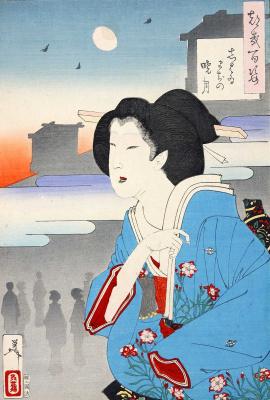 """Цукиока Ёситоси. Луна перед рассветом в районе театра. Серия """"100 видов луны"""""""