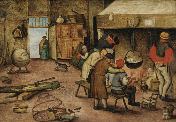 Peter Brueghel The Younger. Peasants by the hearth