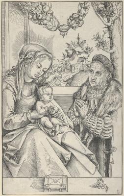 Lucas Cranach the Elder. Madonna and child with the elector Friedrich III