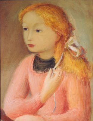 Raúl Soldi. Little girl dressed in pink