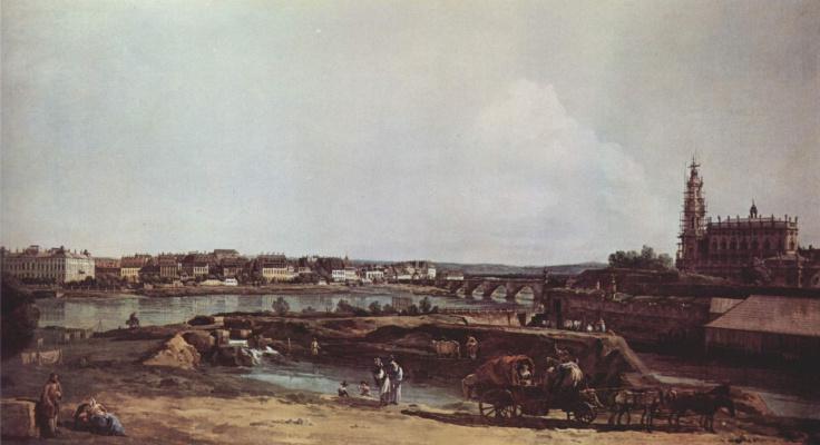 Джованни Антонио Каналь (Каналетто). Вид Дрездена с левого берега Эльбы. Бастион Соль, мост Августа и придворная церковь.