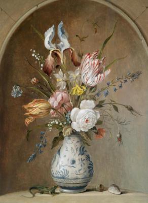 Baltazar van der Ast. A bouquet of flowers in a Chinese vase in a niche