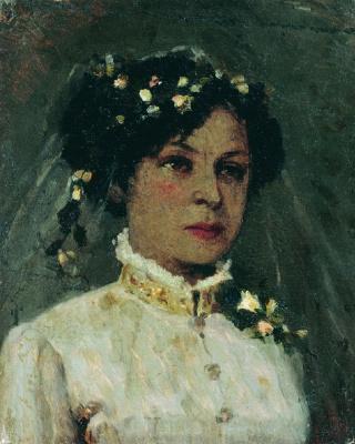 Mikhail Vasilyevich Nesterov. The artist's wife in a wedding dress. Née Maria Ivanovna Martynovskaya