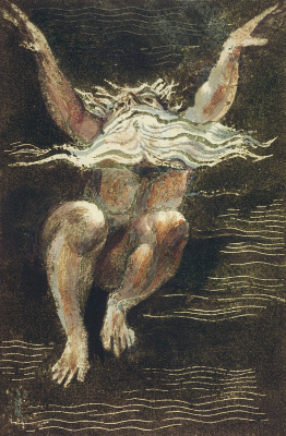 William Blake. The first book Urizen. Urizen rising from the water to the surface