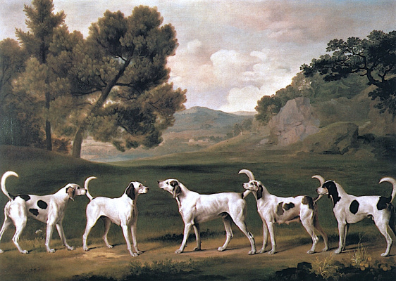 George Stubbs. Hounds in a landscape