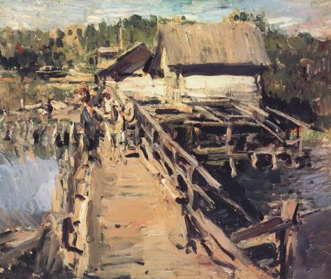 Konstantin Korovin. The bridge at the mill