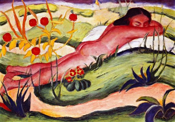 Franz Marc. Nude Lying among Flowers