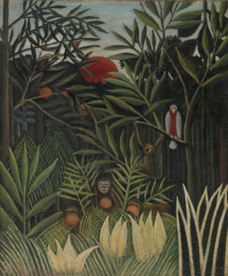 Henri Rousseau. Monkeys and parrot in the virgin forest