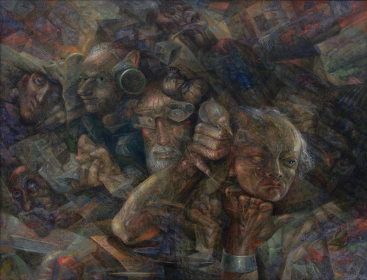 Boris Plaxius. Surrealistic composition with people