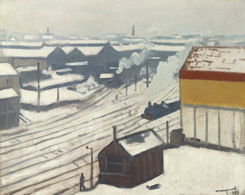 Albert Marquet. Montparnasse train station under the snow