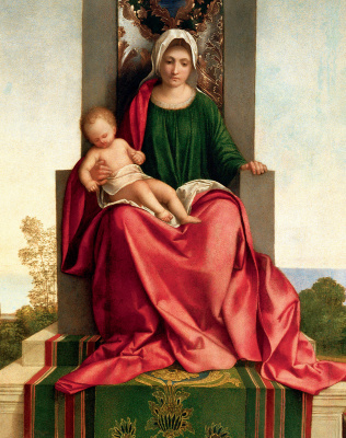 Giorgione. Altar of Castelfranco. Fragment: Madonna and Child on the throne