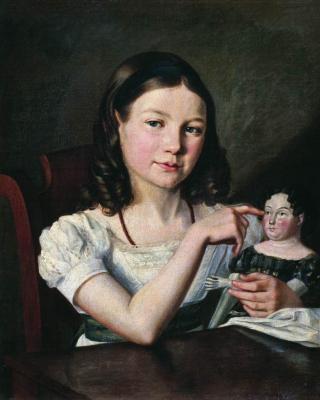 Alexander Grigorievich Varnek. Portrait of Alexandra Alexeevna Tomilova as a child, with a doll in her hand. State Russian Museum, St. Petersburg